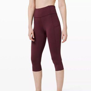 """NWT Lululemon Fast and Free Crop 19"""" Cassis Size 6"""